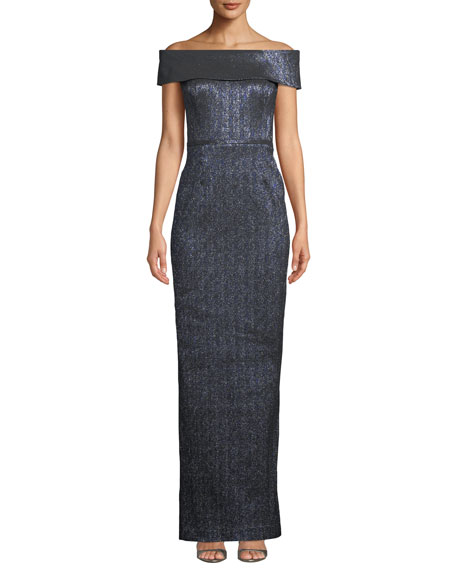 Rickie Freeman for Teri Jon Off-the-Shoulder Metallic Stretch Jacquard Gown
