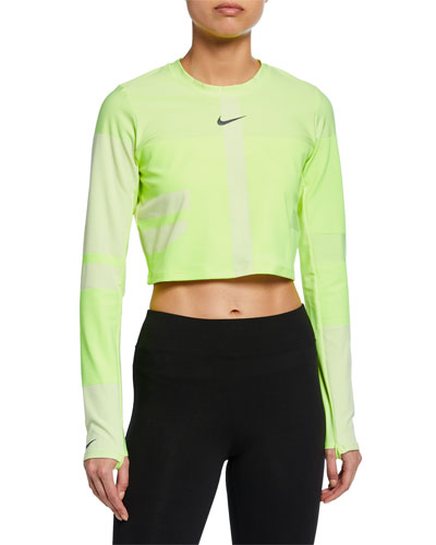 Tech Knit Cropped Long-Sleeve Running Top