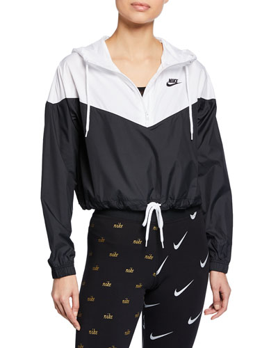 Two-Tone Cropped Hooded Wind-Resistant Jacket