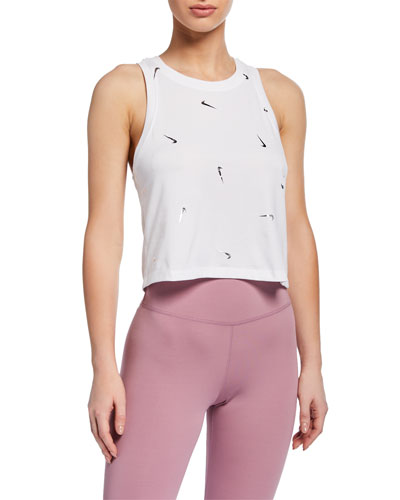 Swoosh Printed Cropped Active Tank