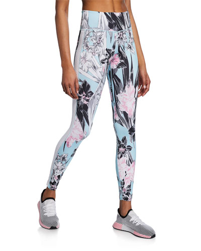 All-In Floral Mesh Panel High-Rise Tights