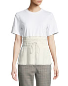 3.1 Phillip Lim Short-Sleeve T-Shirt with Pleated Waist