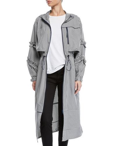Hooded Ruffle Gingham-Print Long Parka Jacket
