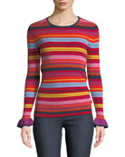 Neiman Marcus Cashmere Collection Striped Ruffle-Sleeve Crewneck