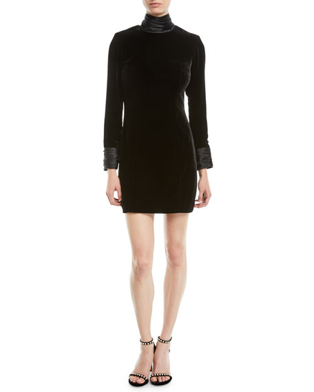 cinq a sept Felicity Turtleneck Velvet Long-Sleeve Mini Dress