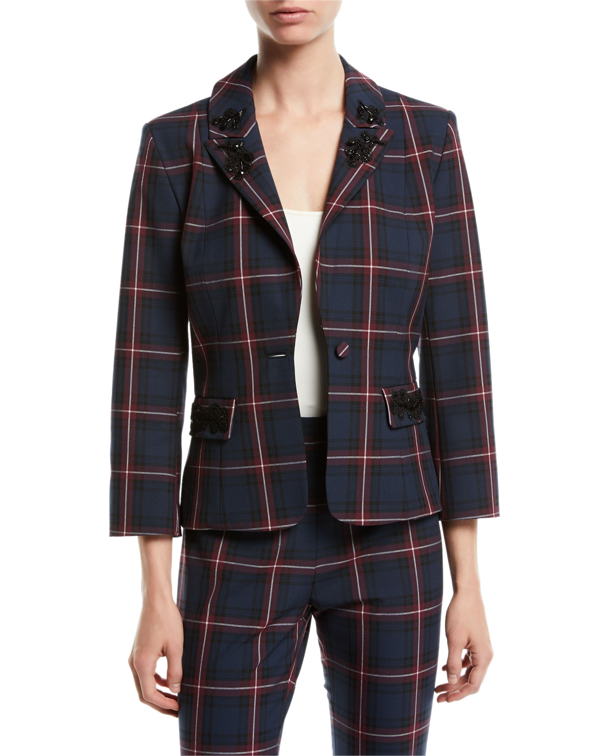 LUCENT EMBELLISHED PLAID BLAZER