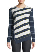 Neiman Marcus Cashmere Collection Mixed-Stripe Asymmetrical