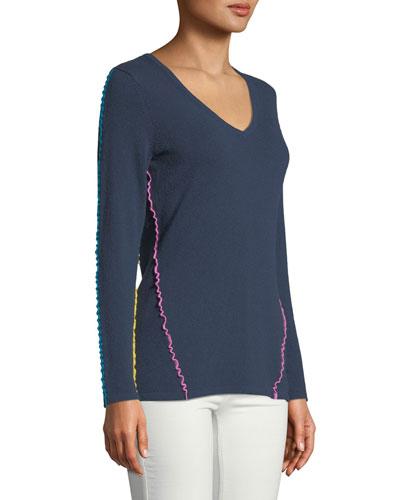 Ruffle-Trim Cashmere V-Neck Sweater