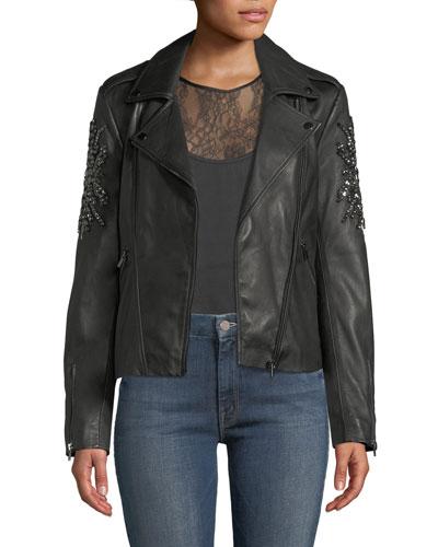 Embellished-Sleeve Leather Moto Jacket