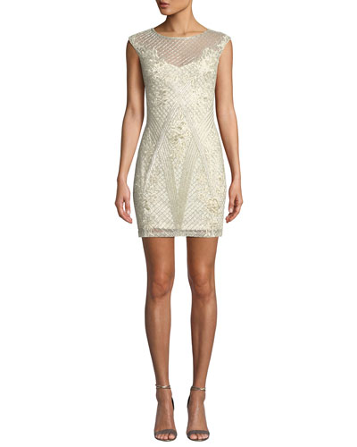 Sol Beaded Mini Dress w/ Sheer Yoke