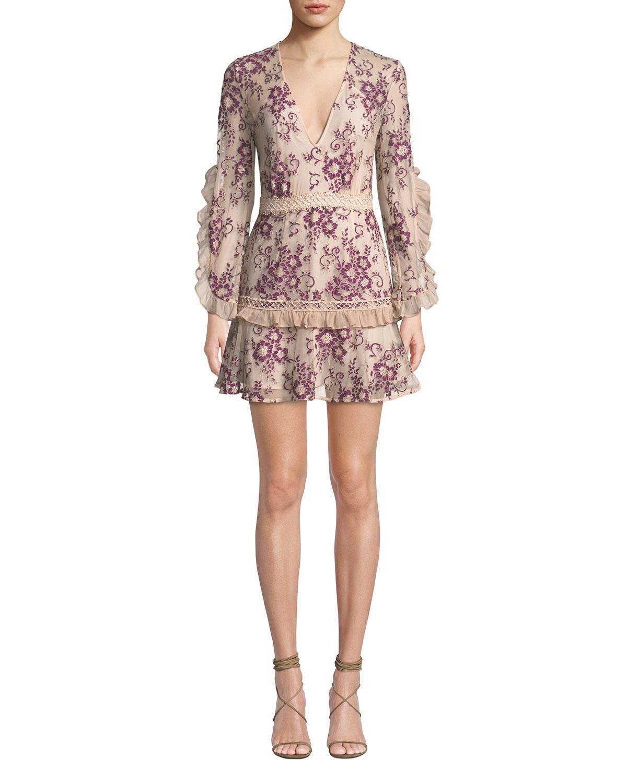 La Maison Talulah ANAPHORA V-NECK RUFFLED LONG-SLEEVE FLORAL-EMBROIDERED SHORT DRESS