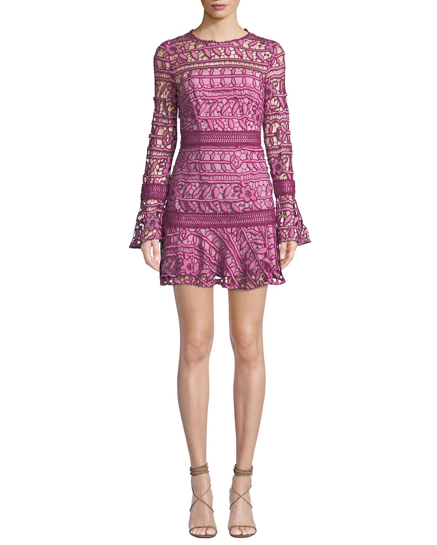 La Maison Talulah CAPRICE LONG-SLEEVE FLORAL-LACE SHORT DRESS