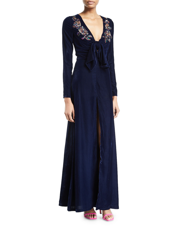 PATBO PATRICIA BONALDI V-Neck Long-Sleeve Velvet Evening Gown W/ Sequined Trim in Blue