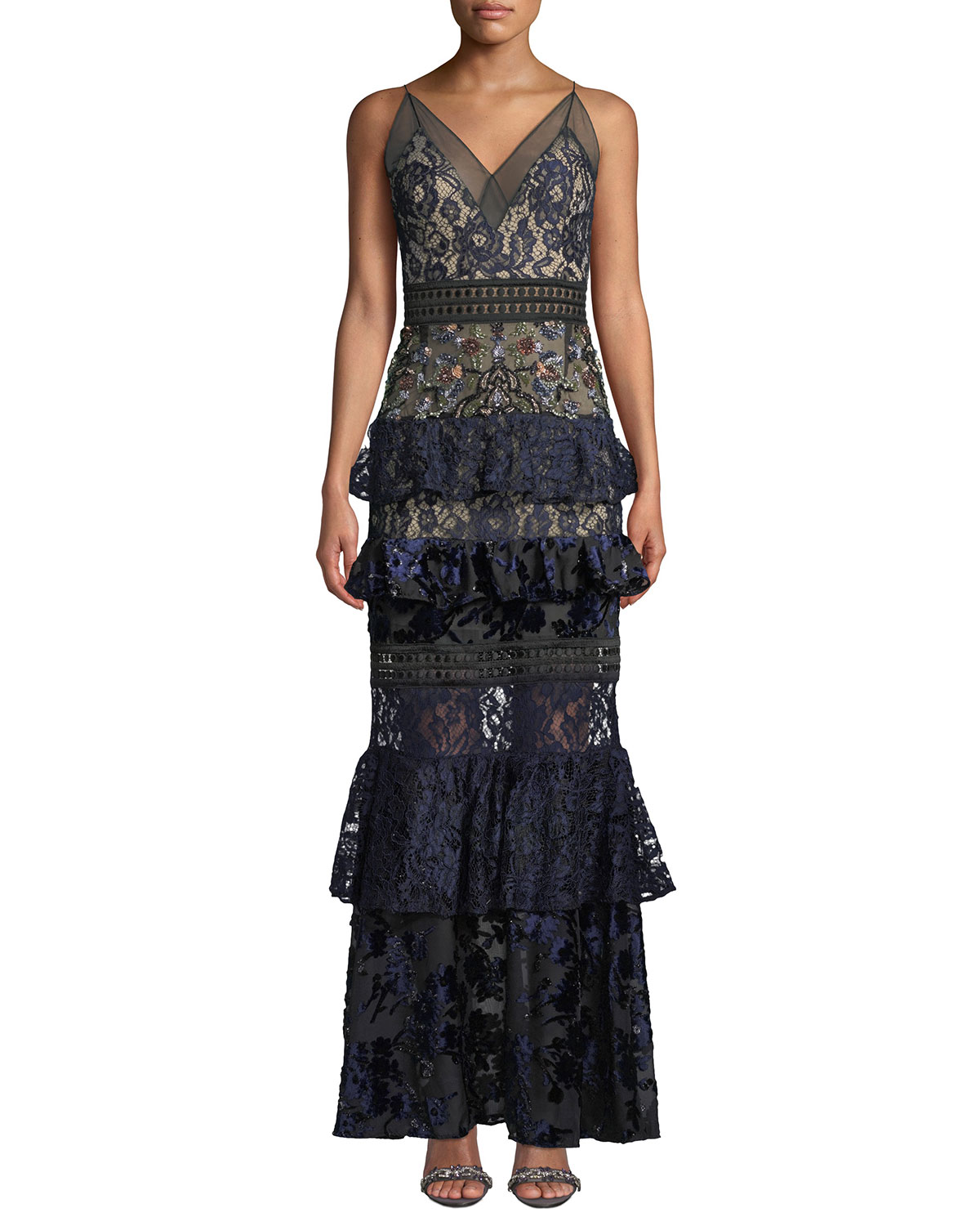PATBO PATRICIA BONALDI Tiered Lace And Velvet Floral-Beaded Gown in Blue