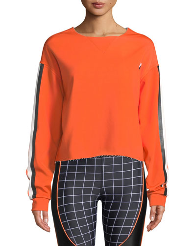 The Blades Side-Stripe Raw-Edge Cropped Sweatshirt