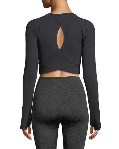 Keith Crossover-Back Long-Sleeve Cropped Performance Top