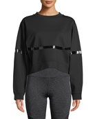 Nylora Campbell Crewneck Cropped Sweatshirt with Patent-Stripe