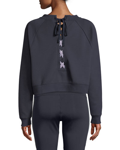 Magnolia Lace-Up Pullover Sweatshirt