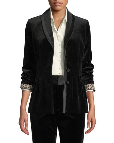 Fitted Velvet Button-Front Blazer Jacket