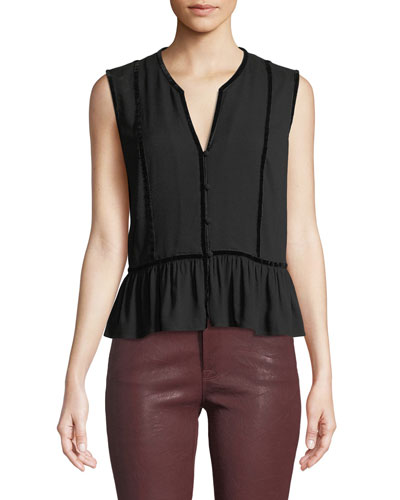 V-Neck Sleeveless Peplum Top w/ Velvet Trim