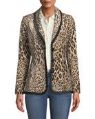 FRAME Fitted Button-Front Leopard-Print Velvet Jacket