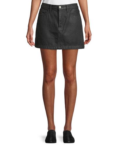 Le Mini Denim A-Line Skirt