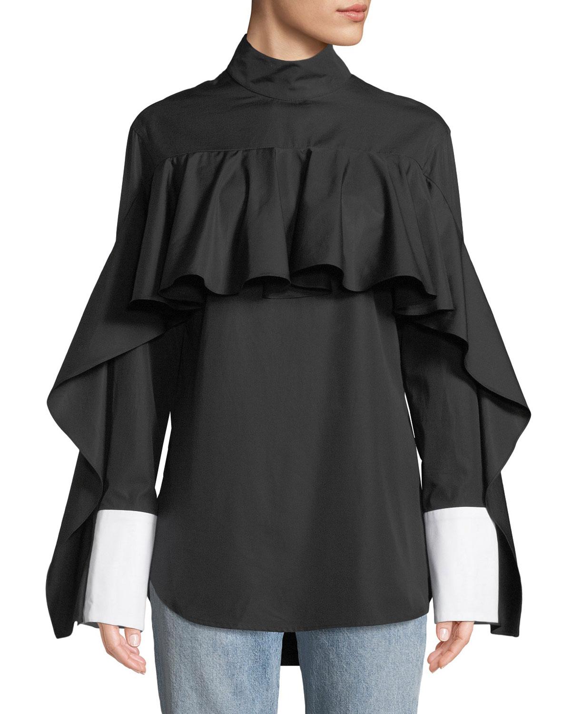 Button-Back Ruffle Long-Sleeve Shirt
