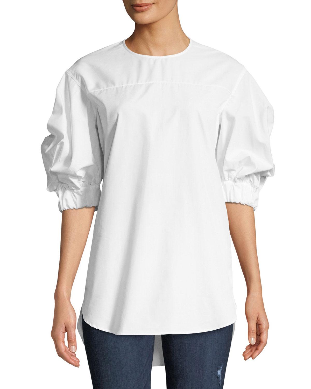 Cotton Elastic-Sleeve Crewneck Top