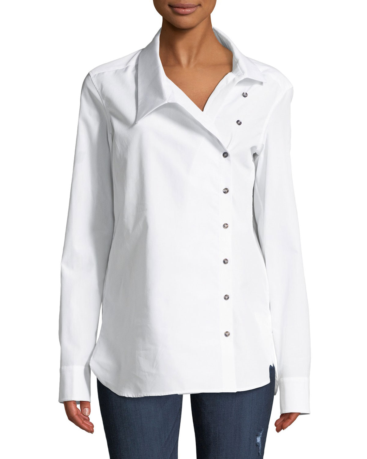 Classic Crossover Button-Front Cotton Shirt