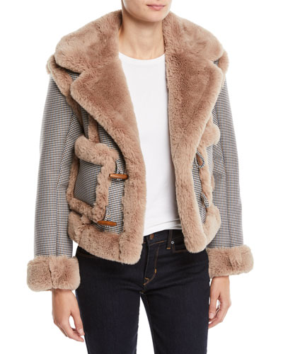 Insomniac Reversible Faux-Fur Houndstooth Jacket
