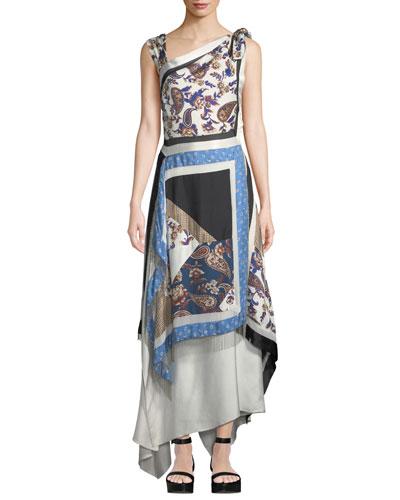 Patchwork Handerkerchief Printed Silk Maxi Dress