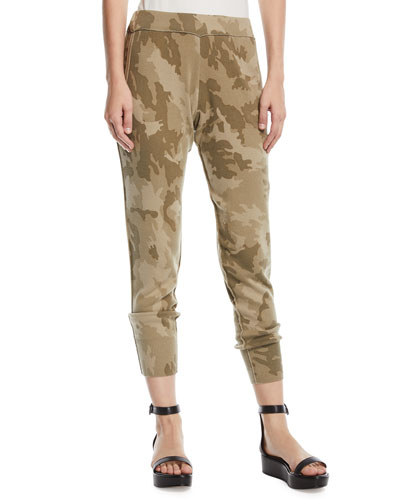 Camo-Print Cotton Jogger Pants