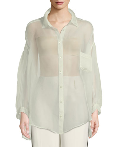 62591a1c9556f8 Silk Organza Top   Neiman Marcus