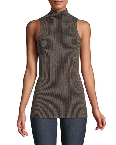 Ribbed Metallic Sleeveless Turtleneck Sweater