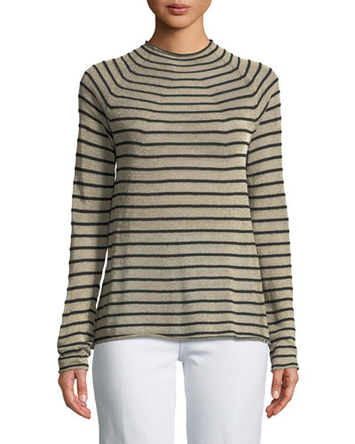 High-Neck Metallic Striped Wool Sweater