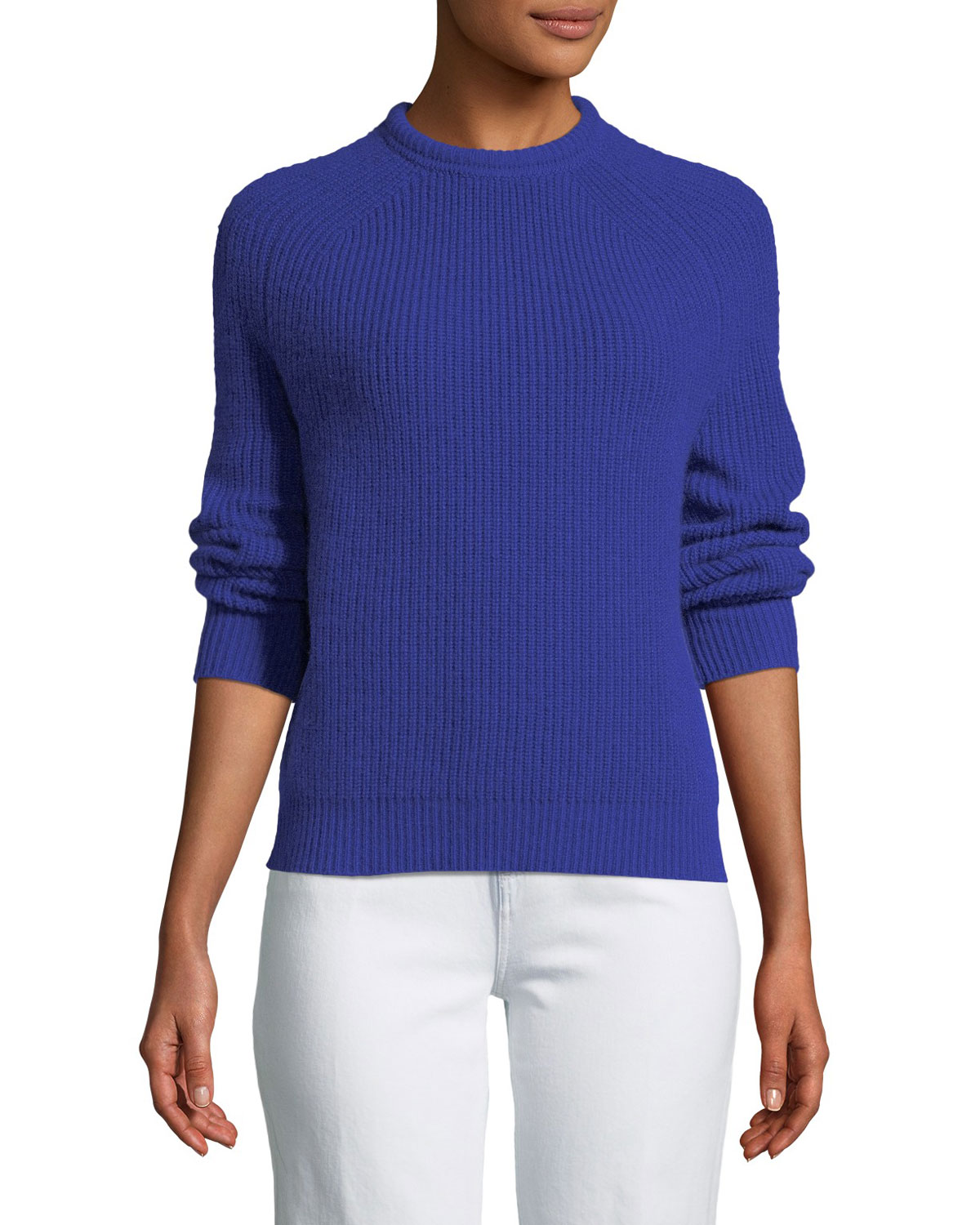 English-Knit Cashmere Crewneck Sweater