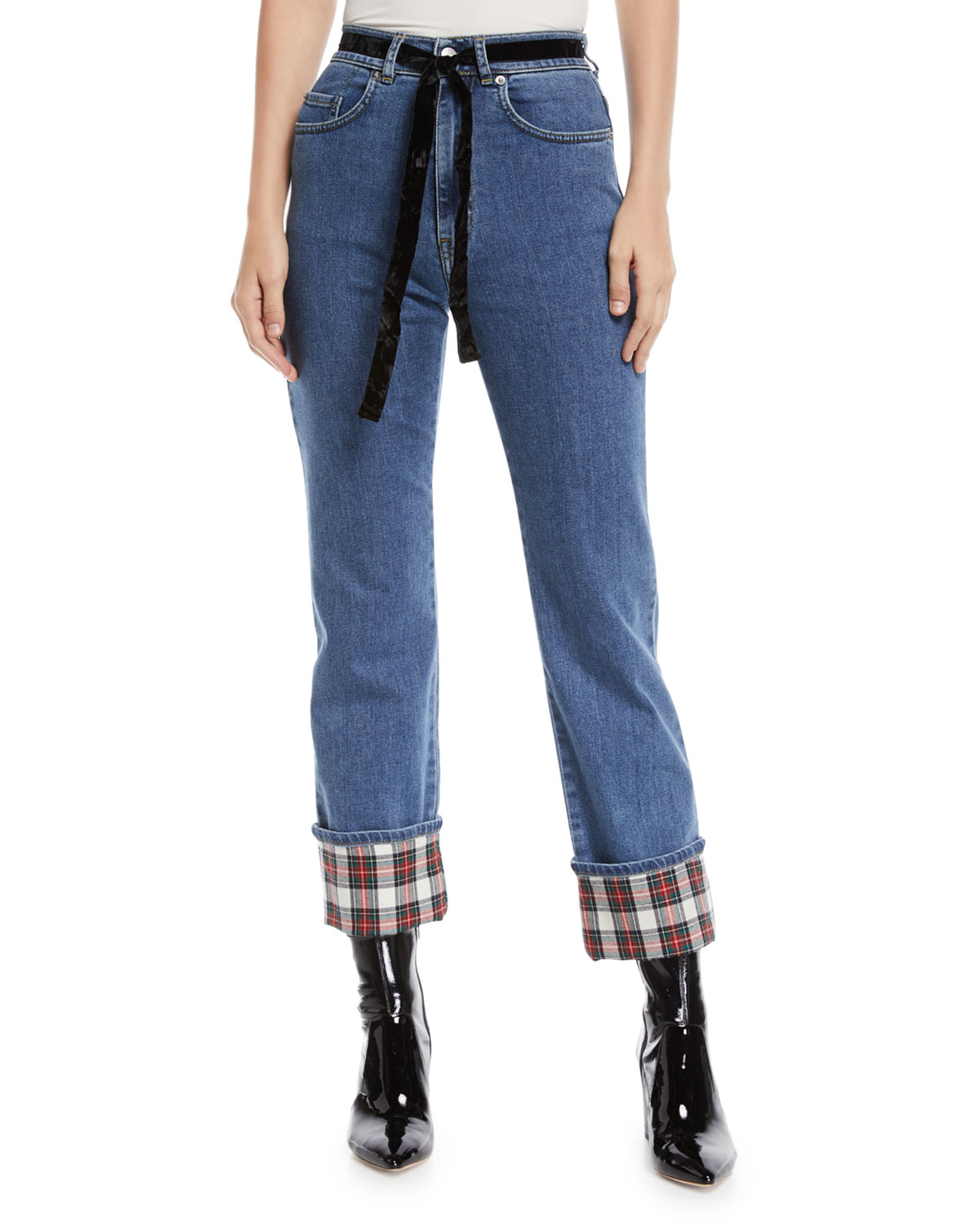 Straight-Leg Cropped Jeans with Tartan Details