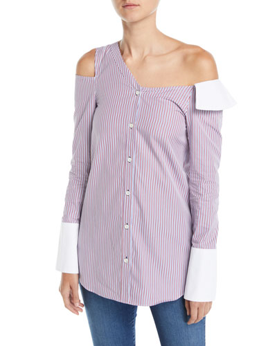 One-Shoulder Cutout Striped Button-Front Shirt