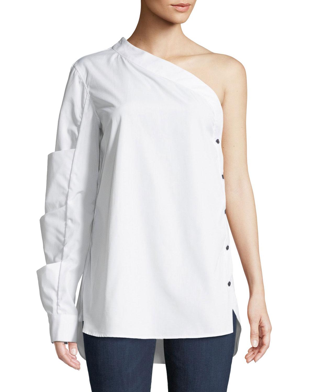 One-Sleeve Side-Button Poplin Top