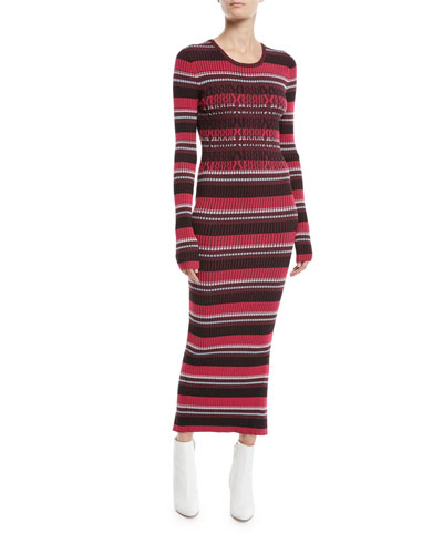 Striped Rib-Knit Long-Sleeve Midi Dress