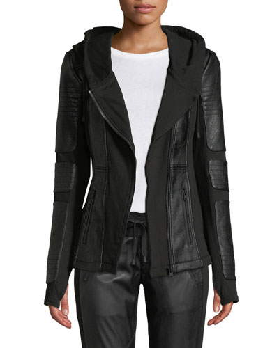 Asymmetrical Hooded Terry Moto Jacket