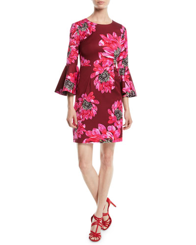 Trumpet-Sleeve Sheath Dress in Macro Floral Print