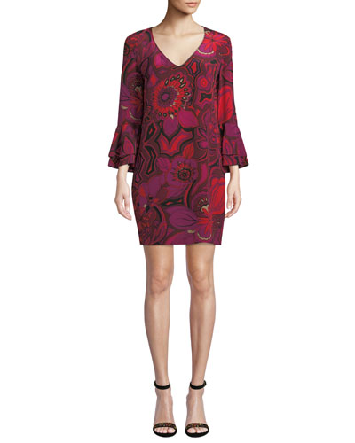 Silk floral print dress neiman marcus quick look trina turk freeda floral print silk dress mightylinksfo