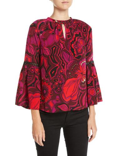 1a7890fd5e2 Quick Look. Trina Turk · Brinley Bell-Sleeve Floral Silk Top