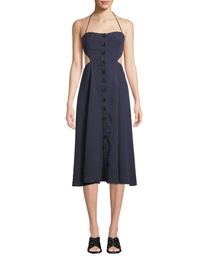 Lina Open-Back Button-Front Dress