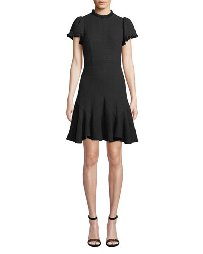 Quick Look Rebecca Taylor Short Sleeve Ruffle Tweed Dress Available In Black