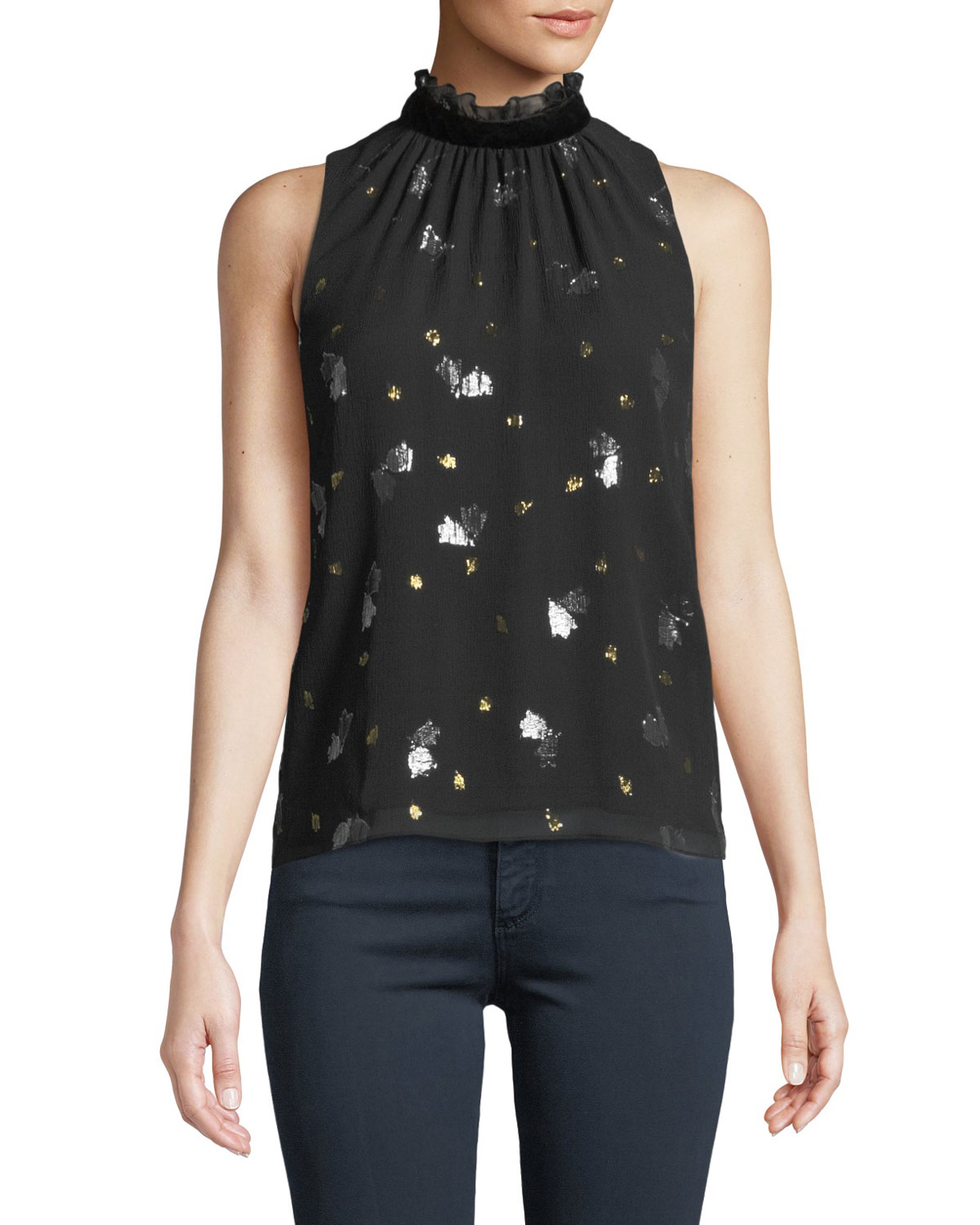 SLEEVELESS SCATTERED TULIP HIGH-NECK TOP