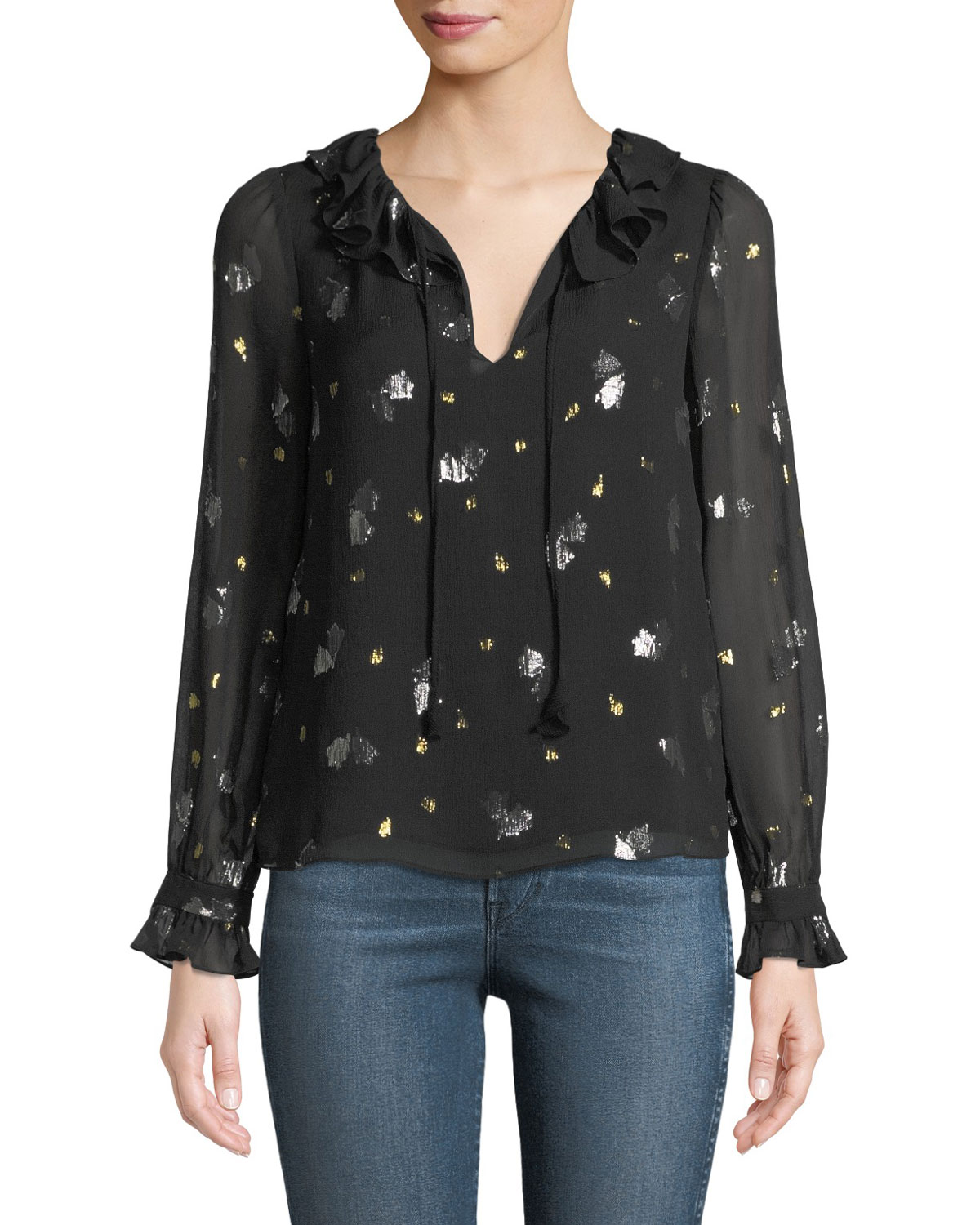 LONG-SLEEVE SCATTERED TULIP RUFFLE TOP
