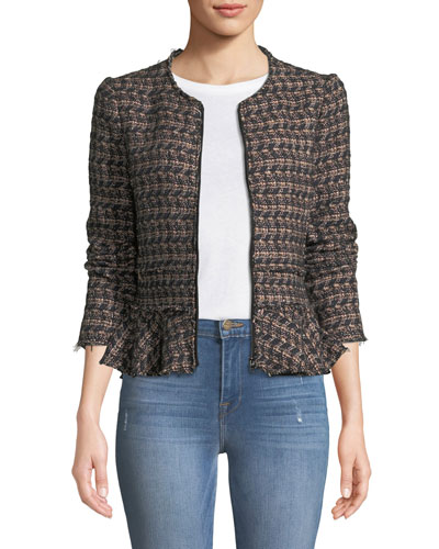 3d450822382 Quick Look. Rebecca Taylor · Zip-Front Tweed Peplum Jacket