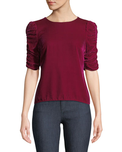 Velvet Ruched-Sleeve Crewneck Top